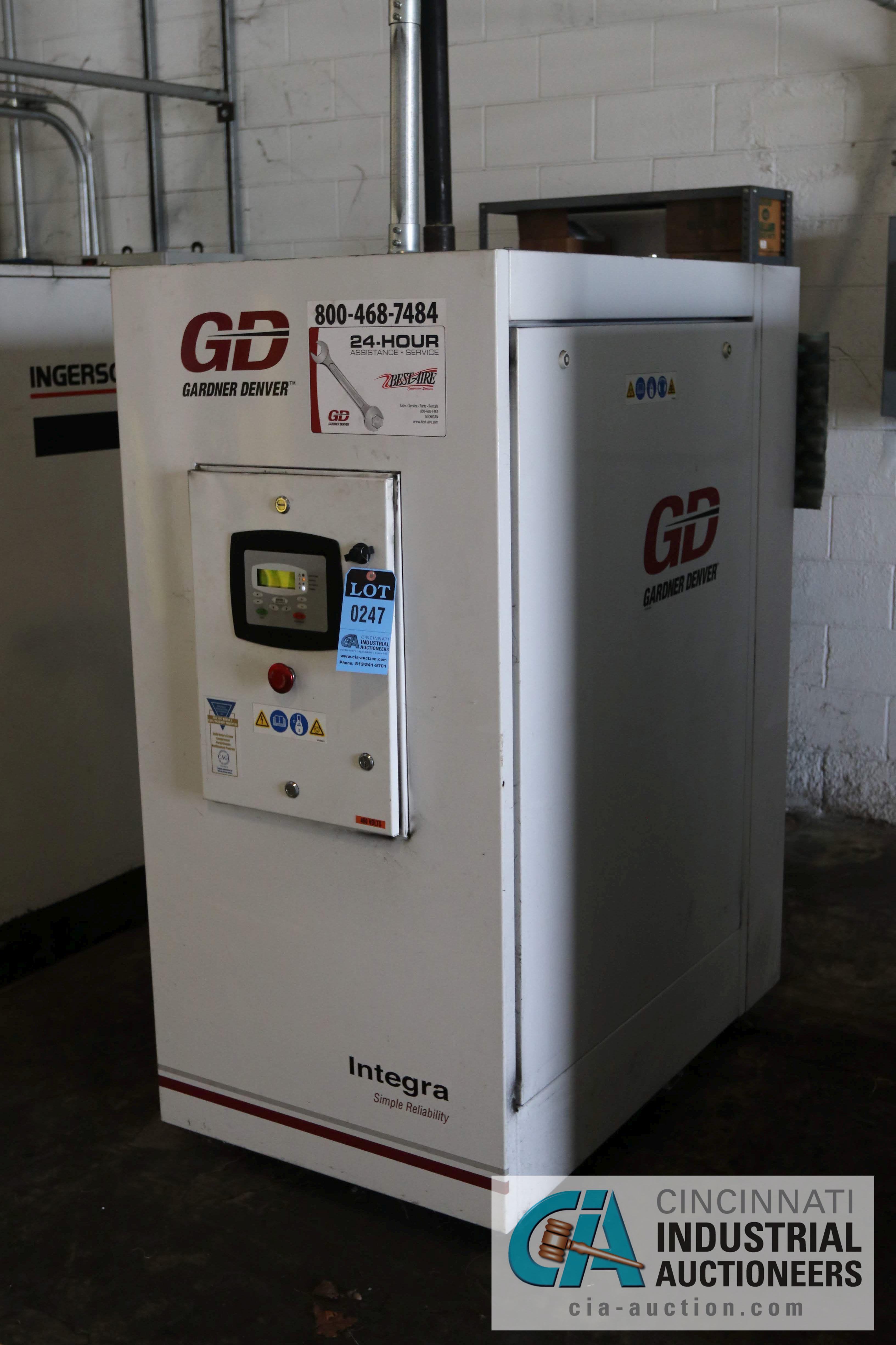 30 HP GARDNER DENVER MODEL EFC99J ROTARY SCREW AIR COMPRESSOR; 125 PSIG, 9,827 HOURS - $150.00