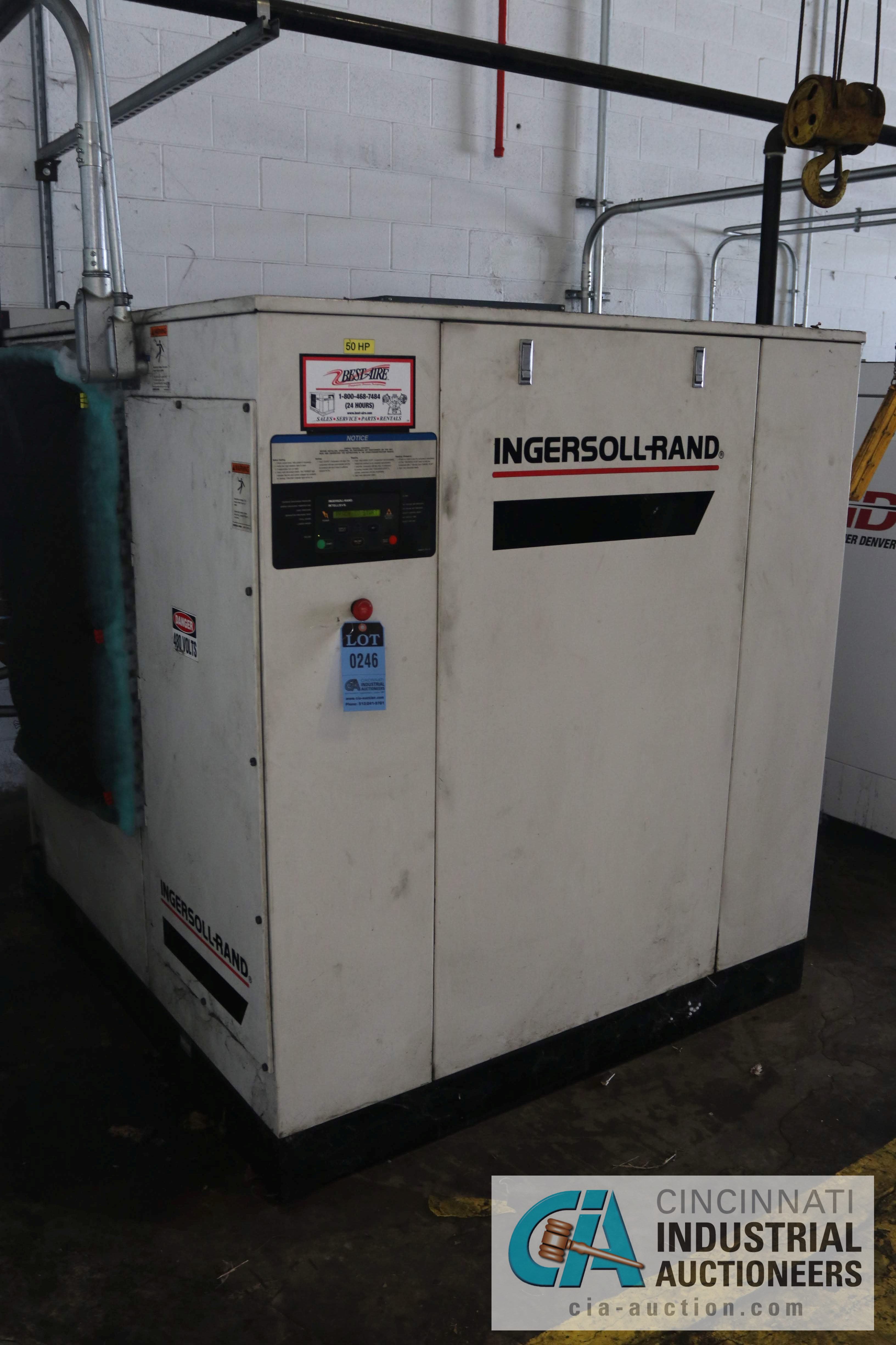 50 HP INGERSOLL RAND MODEL SSR-EP50 ROTARY SCREW AIR COMPRESSOR; 125 PSIG, 59,473 HOURS - $200.00