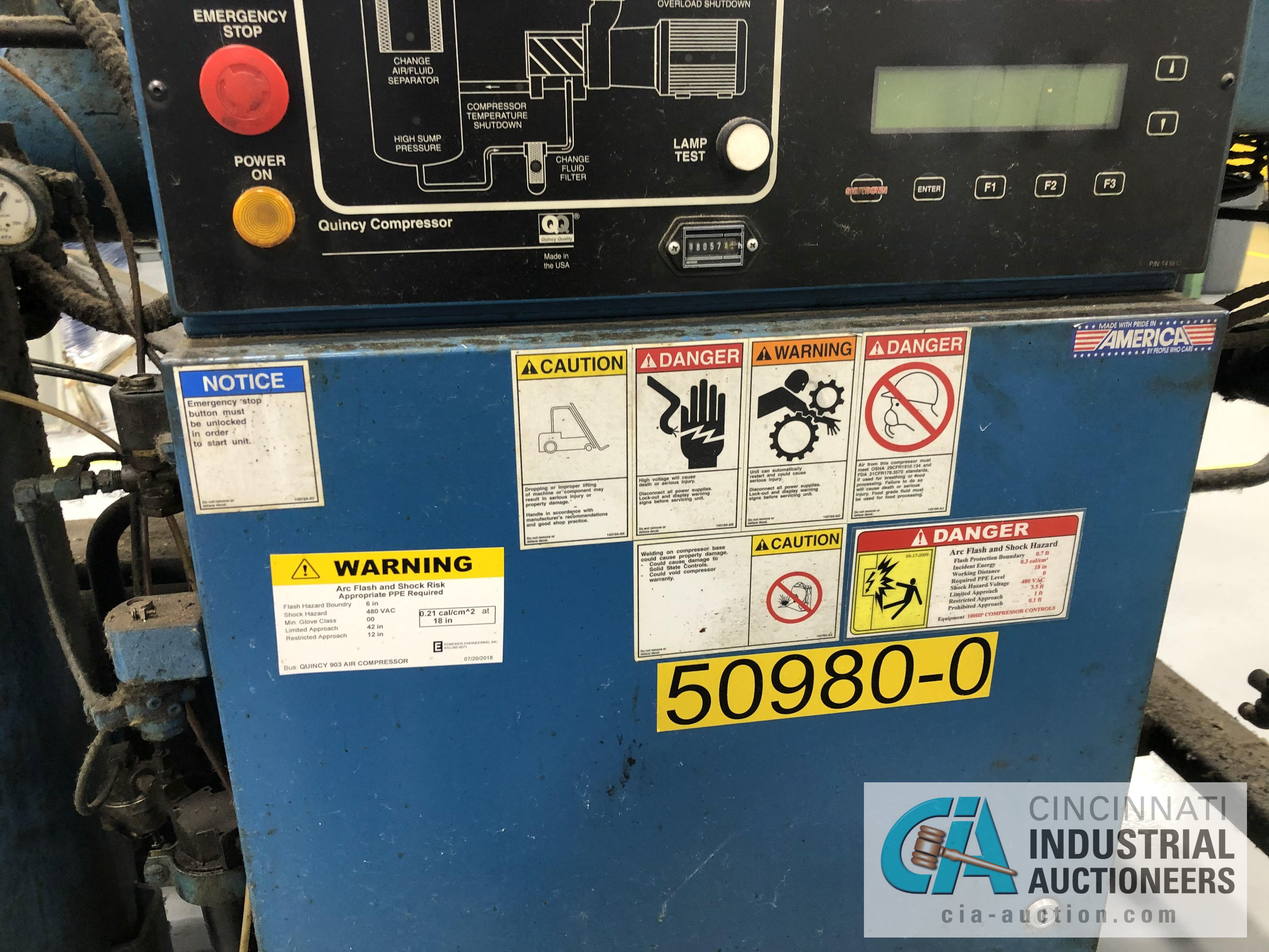 100 HP QUINCY MODEL QSI500-ANA31ED ROTARY SCREW AIR COMPRESSOR - $50.00 Rigging Fee Due to Onsite - Image 2 of 4