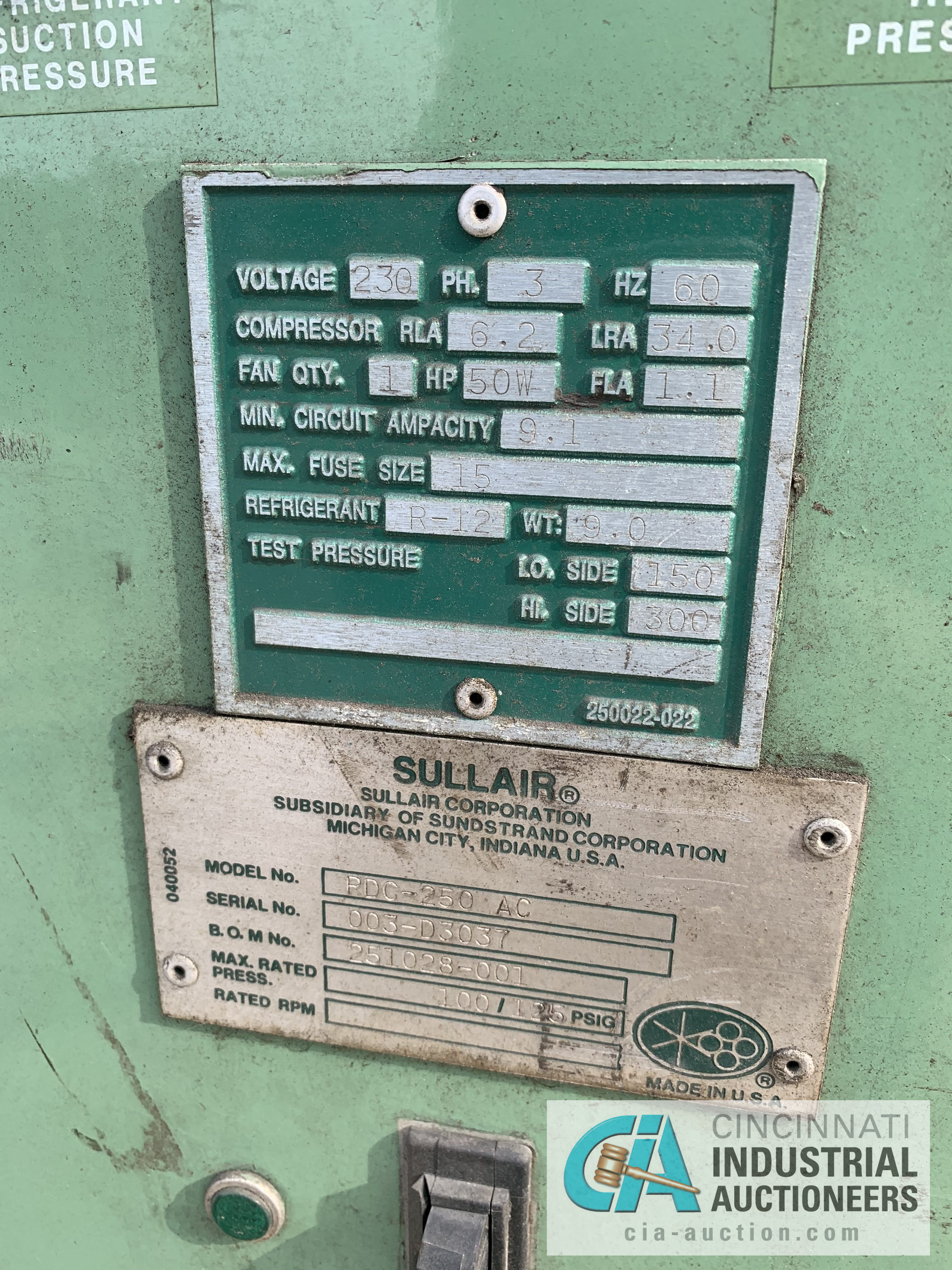 SULLAIR MODEL PDC-250 A/C AIR DRYER - $20.00 Rigging Fee Due to Onsite Rigger - Located in - Image 2 of 2