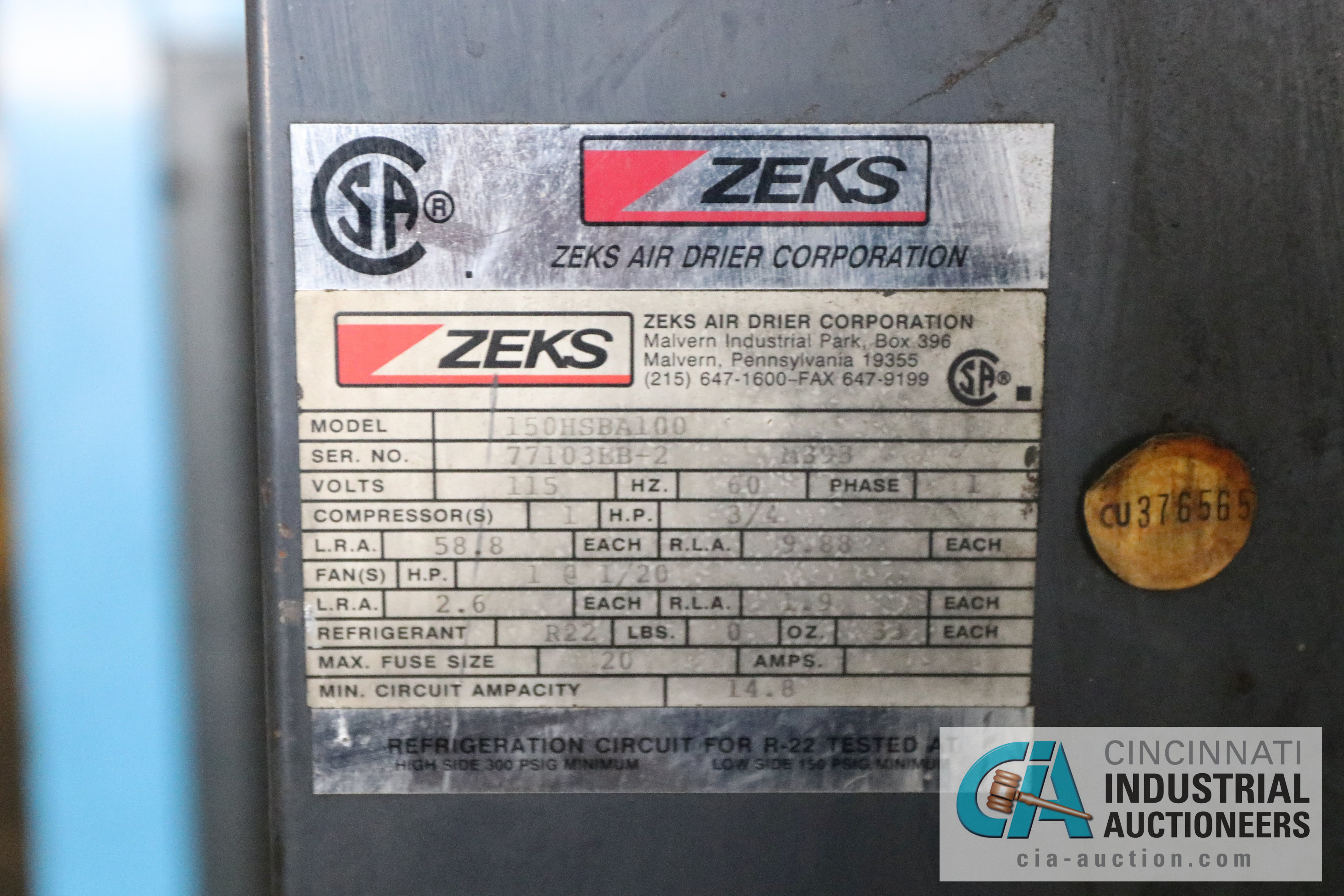 ZEKS MODEL 150HSBA100 AIR DRYER; S/N 77103KB-2 - $100.00 Rigging Fee Due to Onsite Rigger - - Image 2 of 3