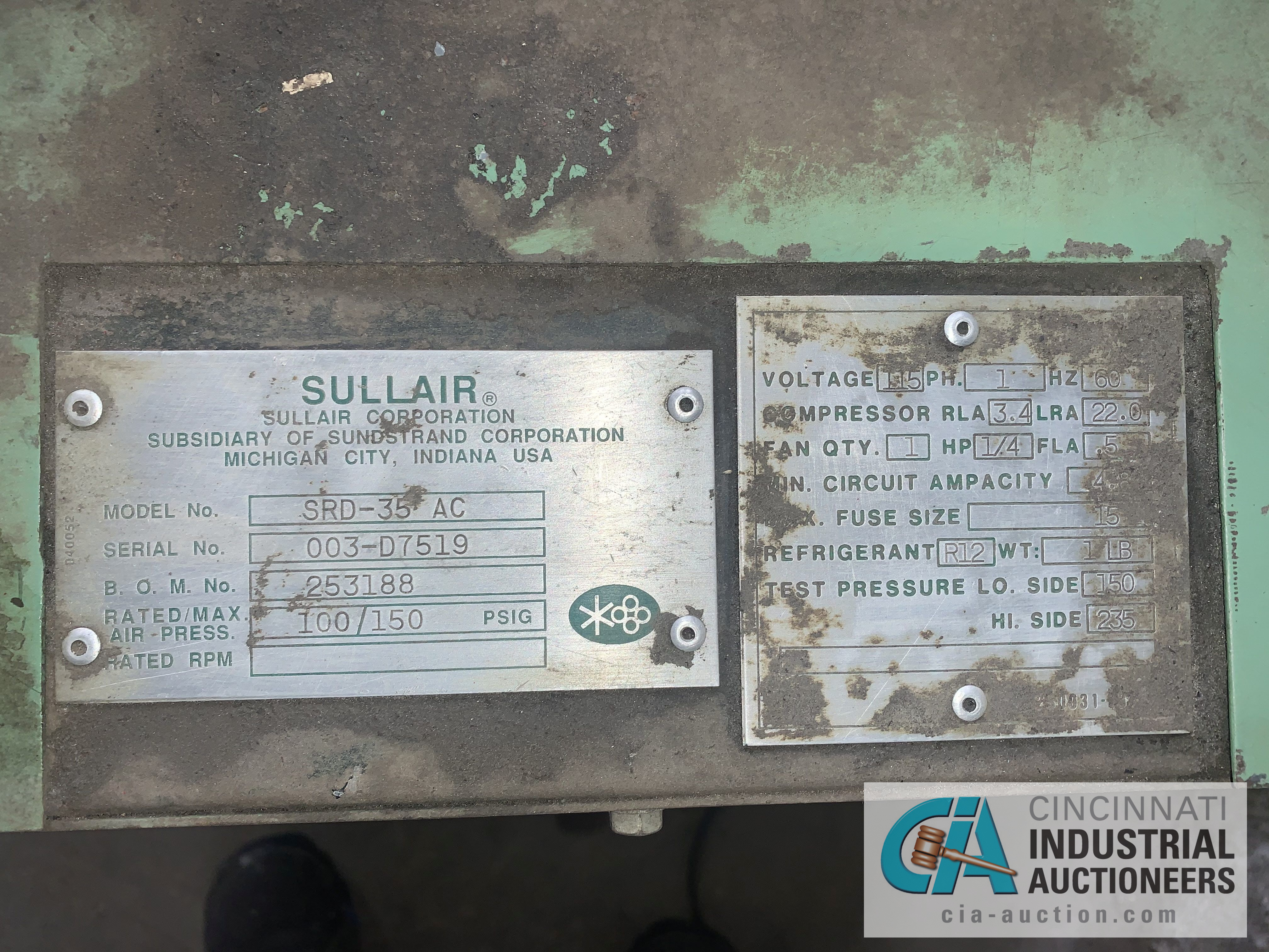 150 PSI SULLAIR MODEL SRD-35 A/C AIR DRYER - $20.00 Rigging Fee Due to Onsite Rigger - Located in - Image 2 of 2
