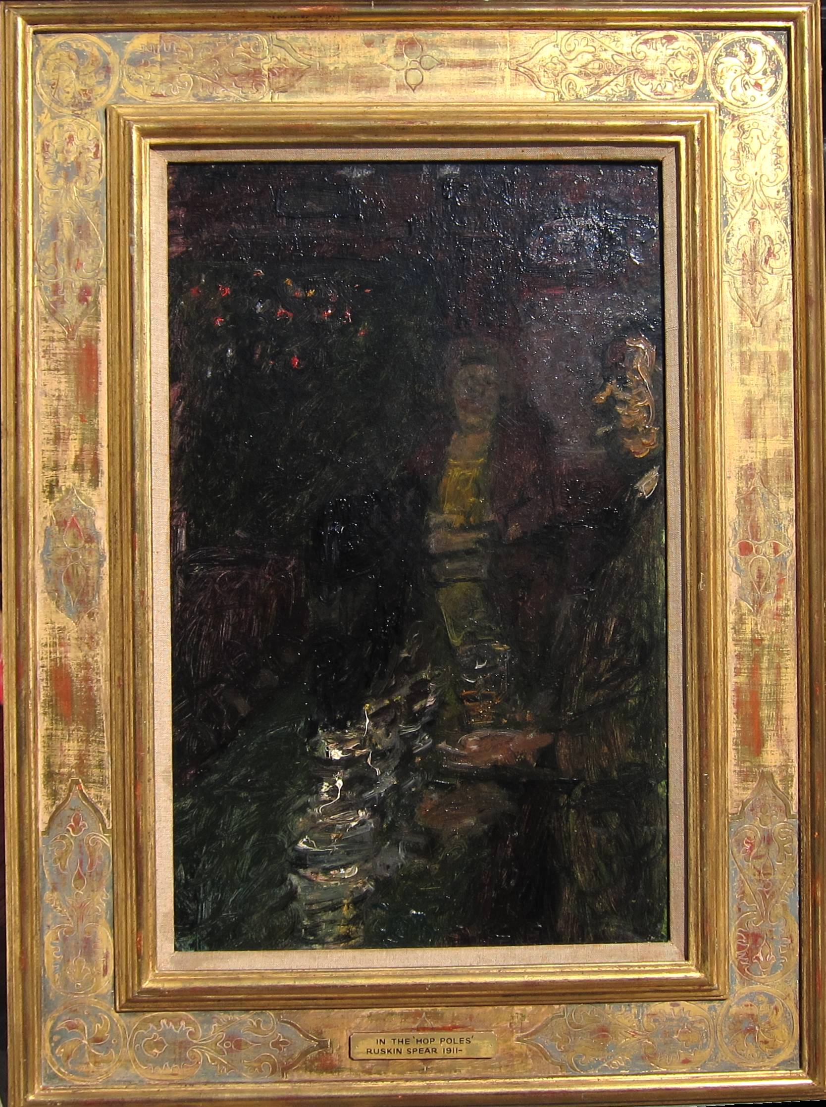 RUSKIN SPEAR, R.A. [1911-90]. In the Hop Poles. Oil on board. Signed and titled on a label on the - Image 2 of 2
