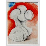 BERNARD MEADOWS, R.A. [1915-2005]. Study for Sculpture, 1978. Watercolour and pencil. Signed and