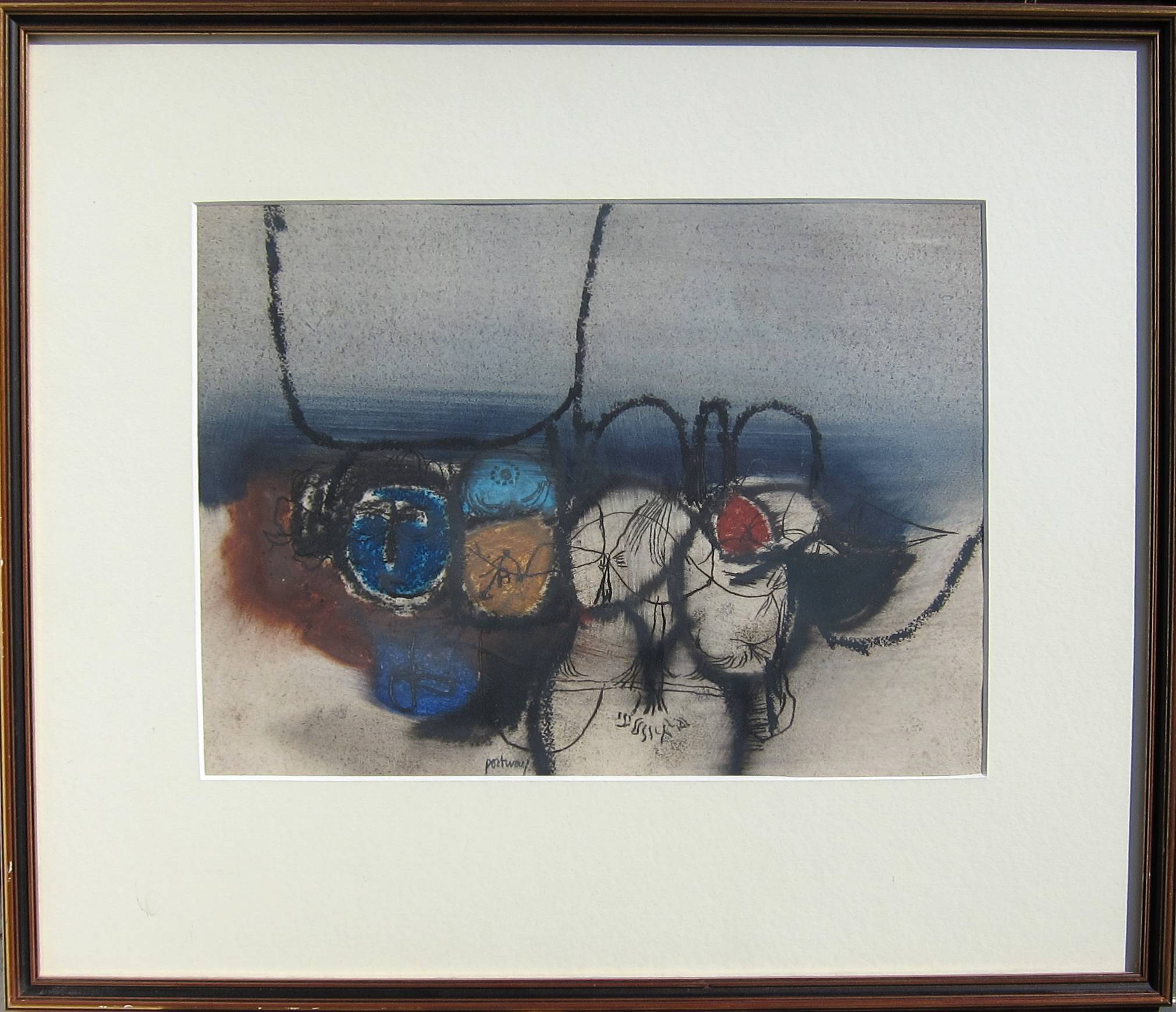 Lot 54 - DOUGLAS PORTWAY [1922-93]. Untitled, 1963. Oil on paper. Signed. 25 x 35 cm [overall including frame