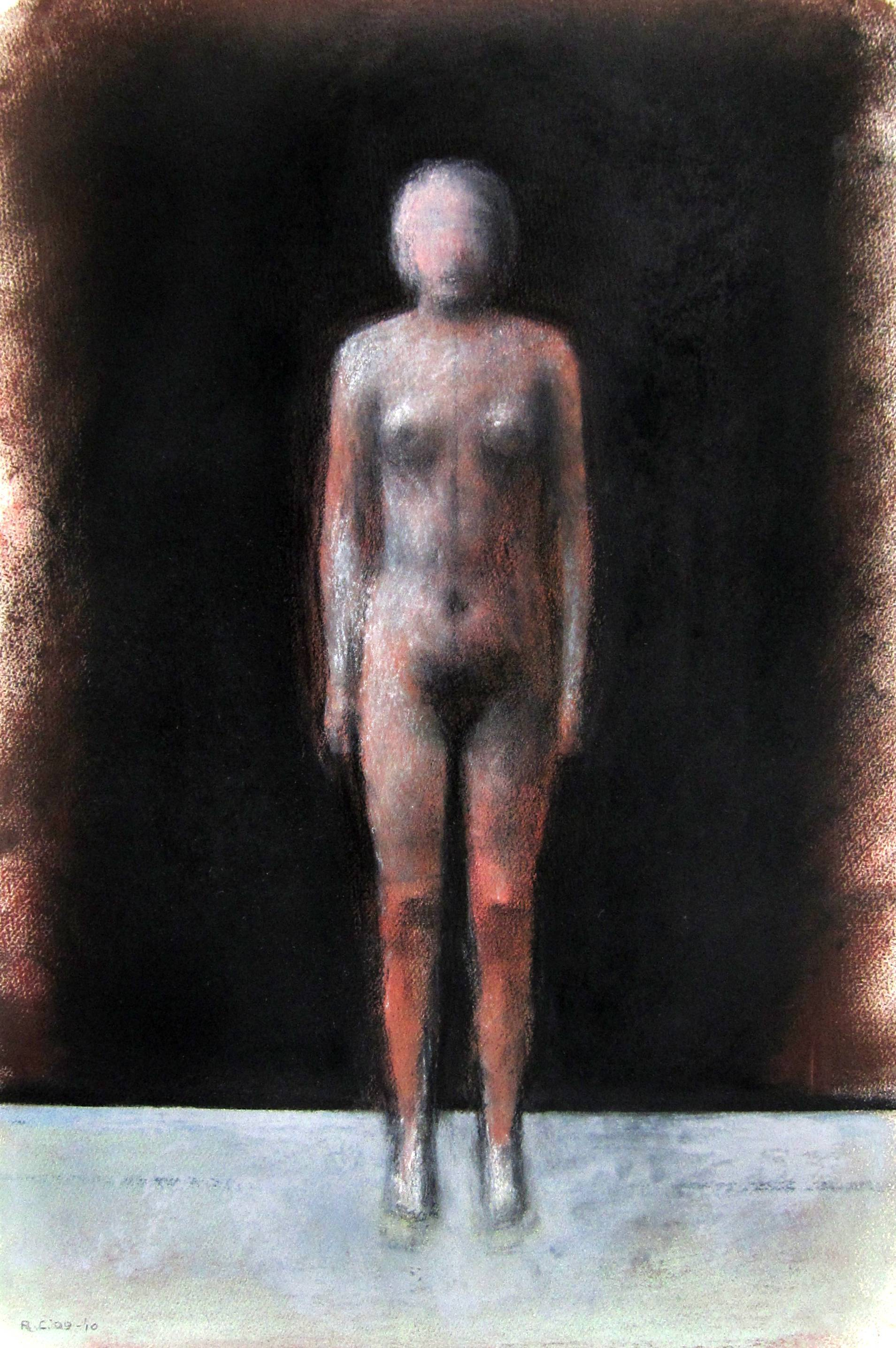 Lot 18 - ROBERT CLATWORTHY, R.A. [1928-2015]. Standing Figure, 2009-10. Acrylic and pastel on paper. Signed