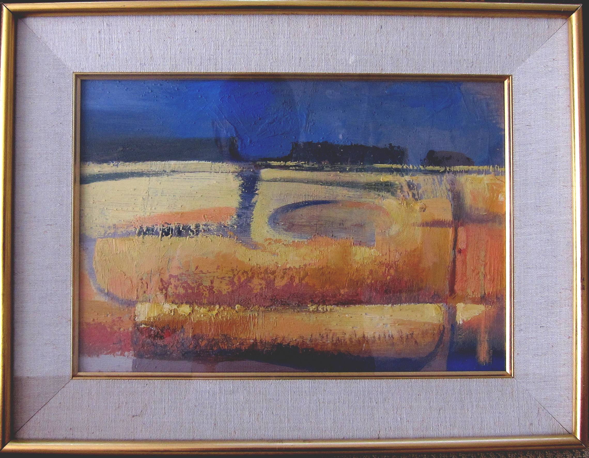 Lot 36 - MICHAEL AYRTON [1921-75]. Cornfield, 1961. Oil on board. 24 x 34 cm [overall including frame 33 x 43