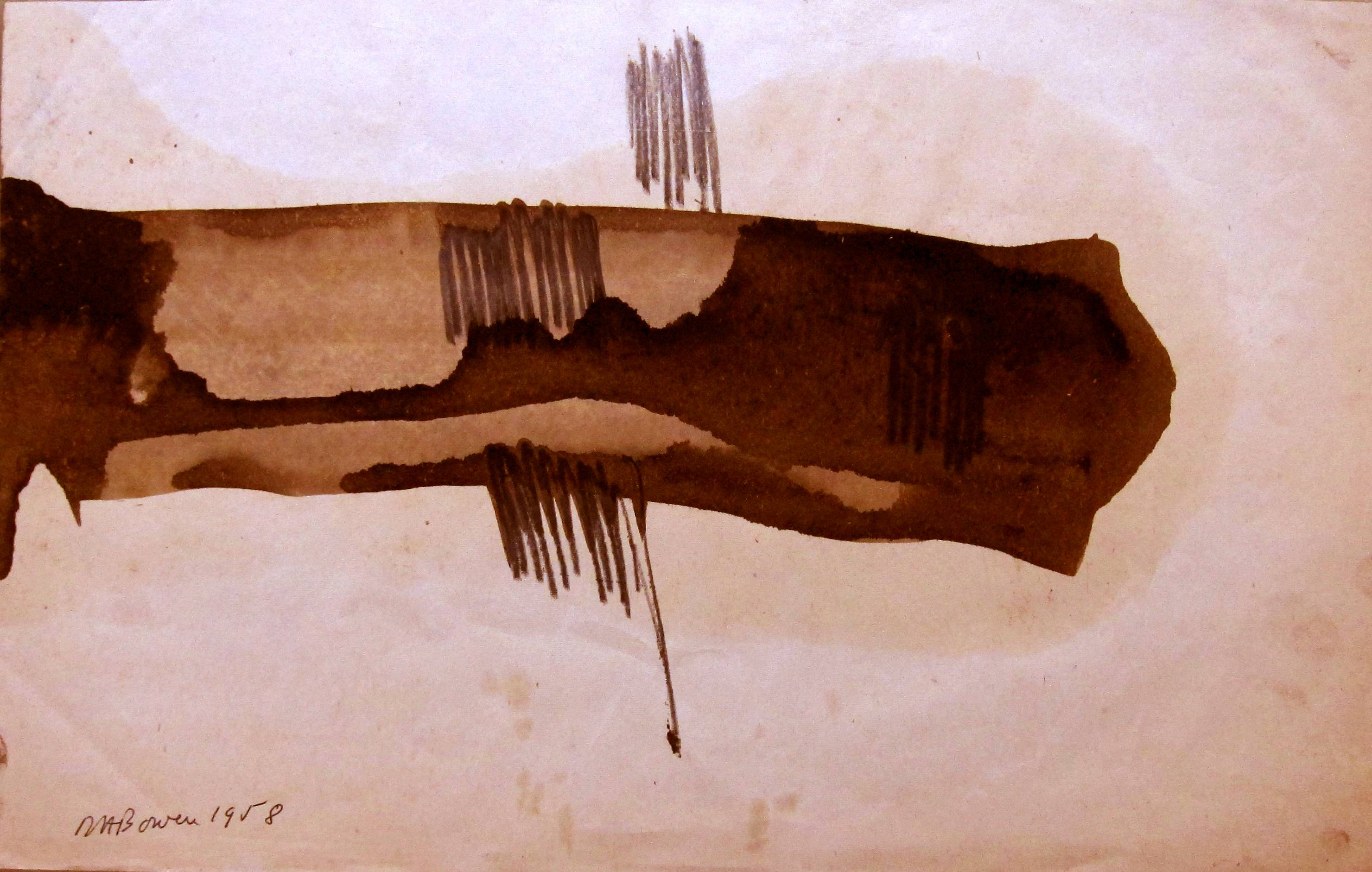 DENIS BOWEN [1921-2006]. Abstract 11 [form], 1958. Watercolour and pencil. Signed and dated. 24 x 37