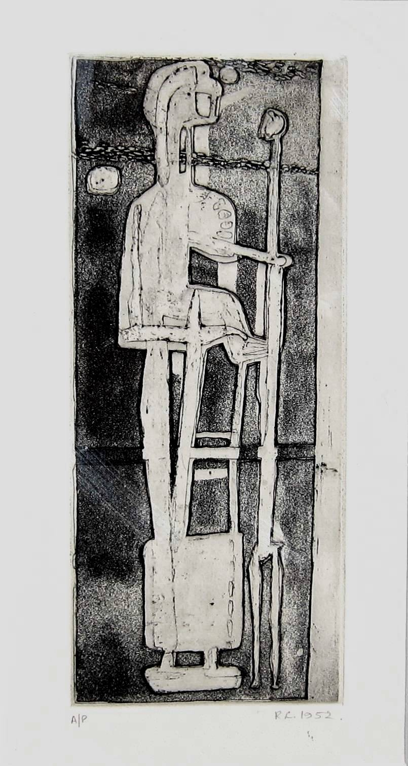 ROBERT CLATWORTHY, R.A. [1928-2015]. Figure, 1952. Etching, edition of 50, artist's proof. Signed.