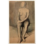 ROBERT CLATWORTHY, R.A. [1928-2015]. Seated Nude, 1947. ink, wash and watercolour. signed and