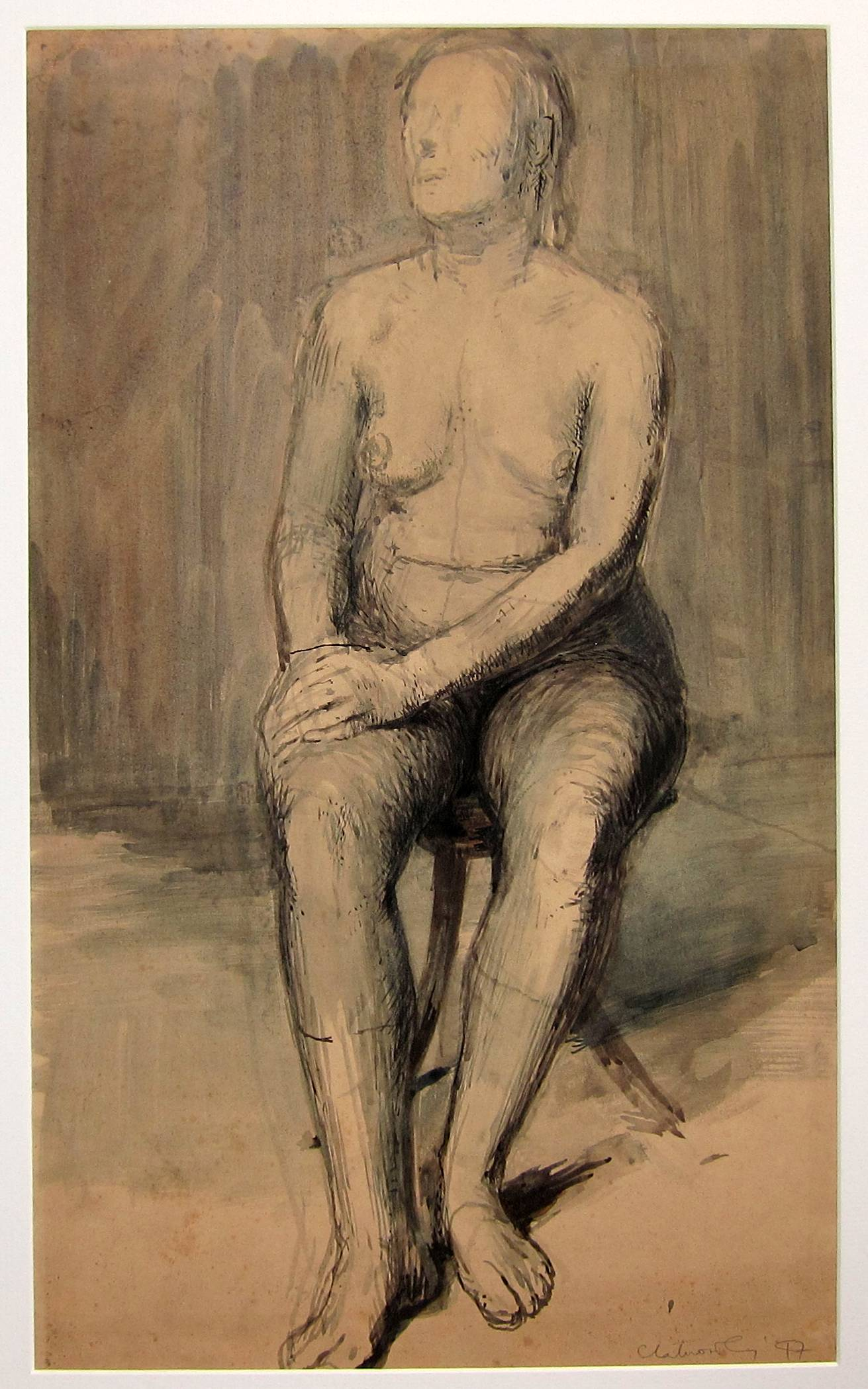 Lot 19 - ROBERT CLATWORTHY, R.A. [1928-2015]. Seated Nude, 1947. ink, wash and watercolour. signed and
