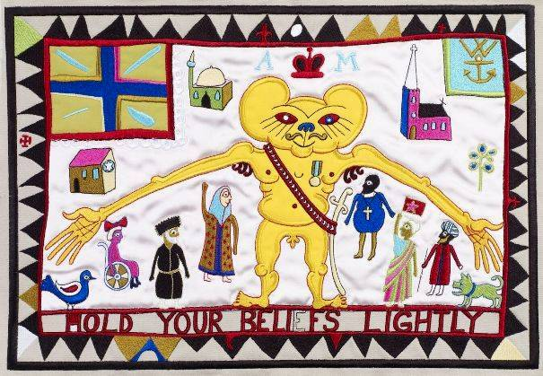 Lot 6 - GRAYSON PERRY, R.A. [b.1960]. Hold Your Beliefs Lightly, 2011. Embroidery on cotton and silk, ed.