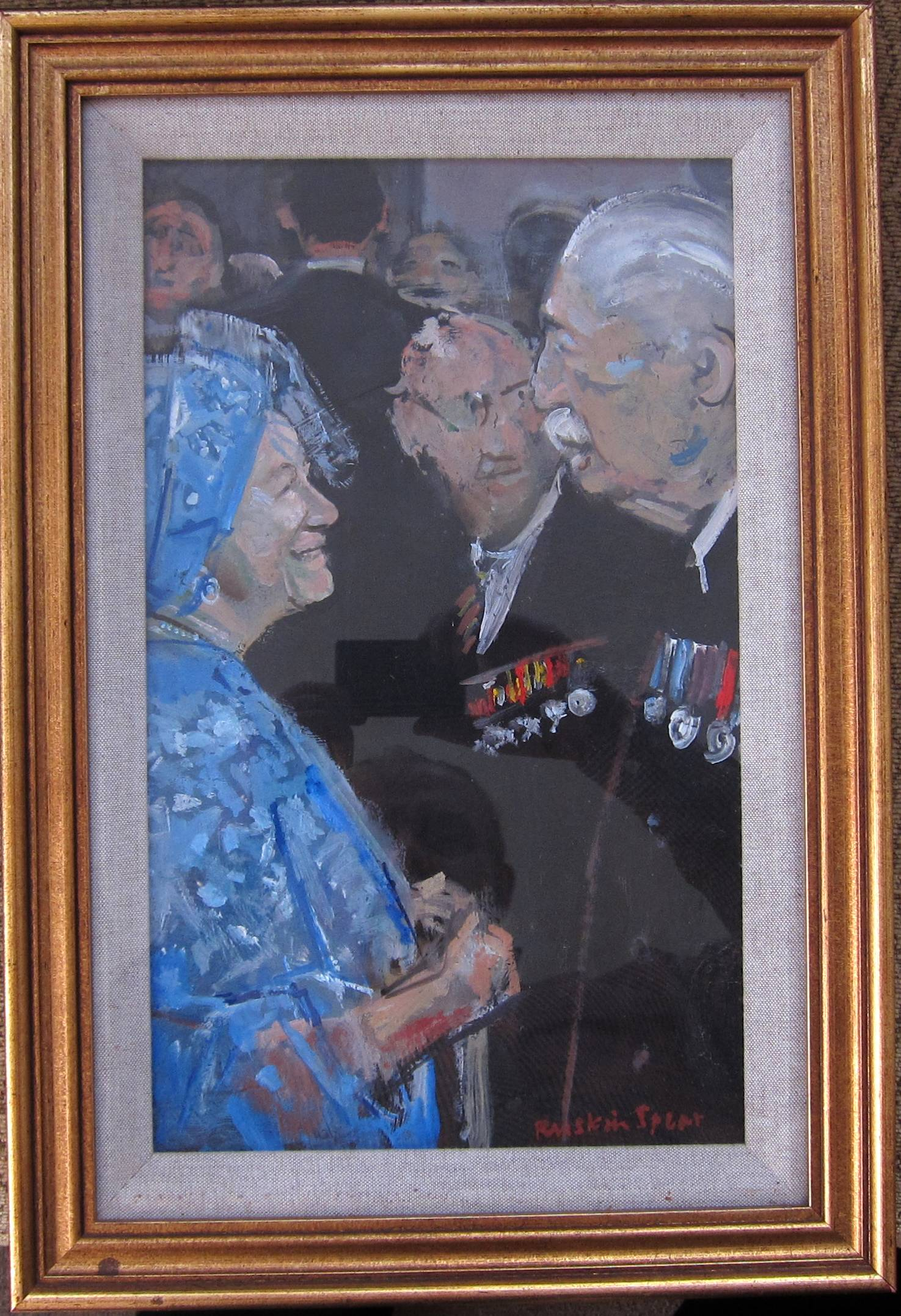RUSKIN SPEAR, R.A. [1911-90]. Queen Elizabeth [the Queen Mother] and Harold MacMillan [the Prime - Image 2 of 2