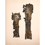 E R NELE [Eva Renee - b.1932] Standing Forms [study for sculpture]. etching, artist's proof. signed.