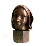 WILLI SOUKOP, R.A. [1907-95]. Head of Girl, 1937. Wood carving, unique. Signed and dated. 33 cm