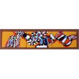 STEFAN KNAPP [1921-96]. Untitled triptych, c.1965. Enamel on 3 steel panels. 12 x 55 cm [image -