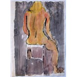 JOHN EMANUEL [b.1930]. Seated Nude [back view]. Watercolour and ink. Signed. 35 x 25 cm.