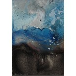 DENIS BOWEN [1921-2006]. Blue Sea, 1997. Oil and spray paint on board. Signed. 40 x 29 cm [overall
