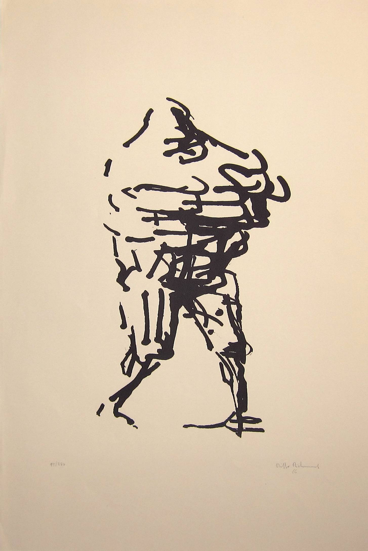 Lot 11 - OLIFFE RICHMOND [1919-77]. Walking Figure, 1966. Lithograph, 99/250. Signed and dated. 77 x 53 cm [