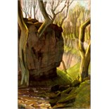 HARRY EPWORTH ALLEN [1894-1958]. Tree and Rock, c.1925. Pastel. Signed. 39 x 27 cm [overall
