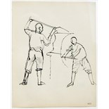 KEITH VAUGHAN [1912-77]. Two Engine Stokers, 1955. Ink. Studio stamp initials on reverse of drawing.