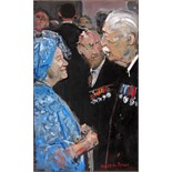 RUSKIN SPEAR, R.A. [1911-90]. Queen Elizabeth [the Queen Mother] and Harold MacMillan [the Prime