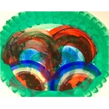 HOWARD HODGKIN, R.A. [b.1932]. Green Palm. Lithograph with hand colouring [Heenk 75]. Edition of 85.