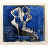 BERNARD MEADOWS, R.A. [1915-2005]. Study for Sculpture [Bird], c.1955. Watercolour and pencil.