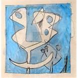 BERNARD MEADOWS, R.A. [1915-2005]. Study for Sculpture [Bird], 1956. Watercolour and pencil.
