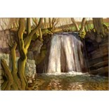HARRY EPWORTH ALLEN [1894-1958]. Waterfall, c. 1925. Pastel. Signed. 40 x 28 cm [overall including