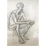 LEON UNDERWOOD [1890-1975]. Seated Man. Charcoal drawing. Signed. 36 x 25 cm [overall including