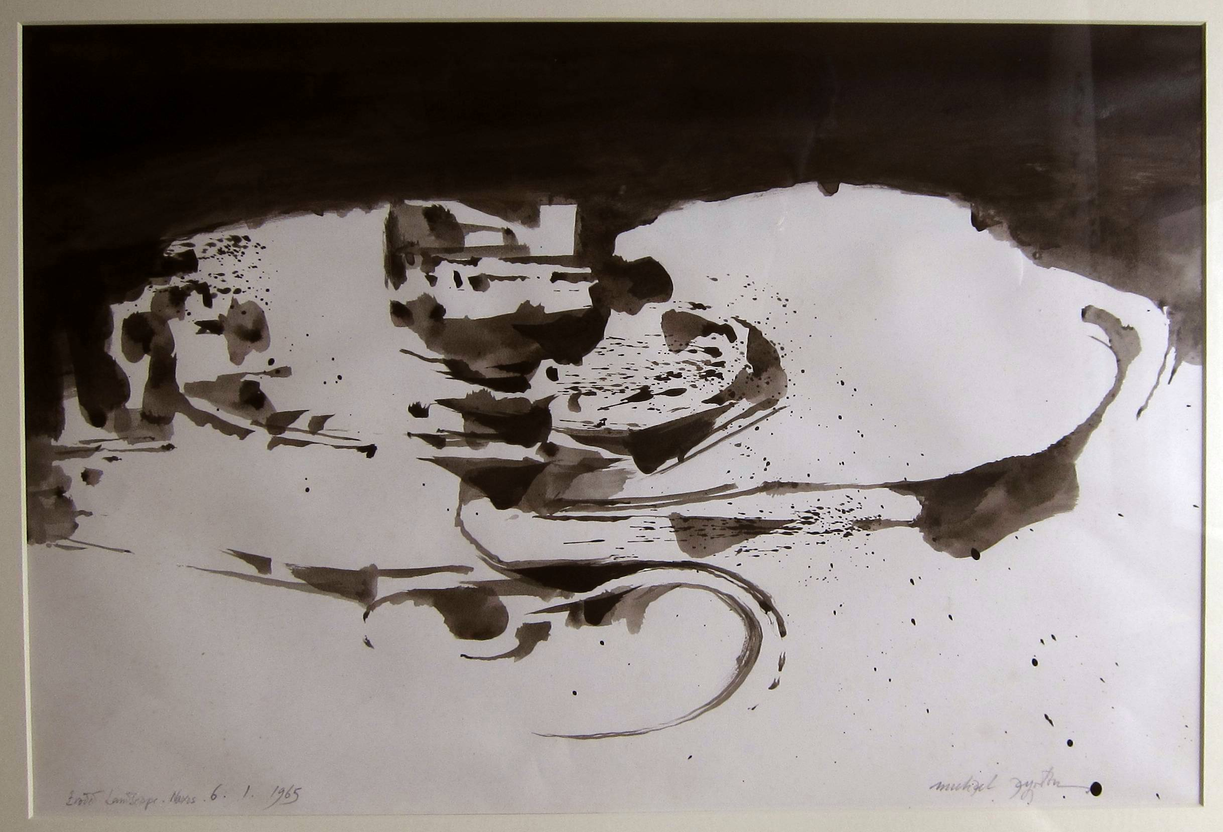 Lot 37 - MICHAEL AYRTON [1921-75]. Eroded Landscape, Naxos, 1965. ink and wash. signed and dated. 55 x 37