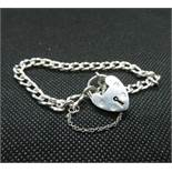 Vintage silver fancy link bracelet with padlock and safety chain London 1975 HM 12.5grams