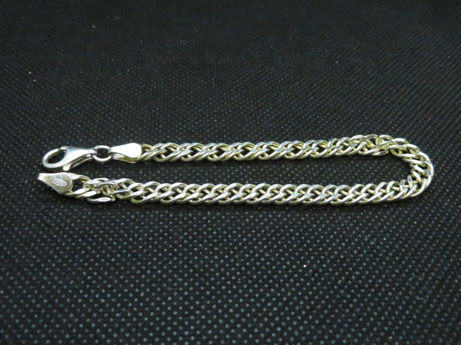 """Lot 55 - 7.5"""" silver double curb link bracelet with sturdy lobster claw fastener 9.5grams"""