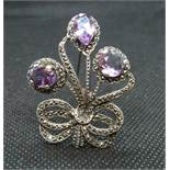 Vintage silver brooch set with marquisite and amethysts HM Birmingham 1966 12grams