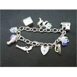 Vintage silver bracelet with 2 charms HM Birmingham 1972 32.5grams