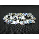 Vintage silver bracelet with 45 enamel souvenir charms 65grams