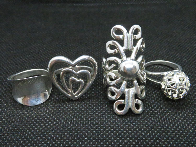 Lot 33 - Job lot of 4x silver dress rings 24grams