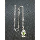 """Pretty silver pendant set with peridot stone on 18"""" silver baby belcher link chain"""