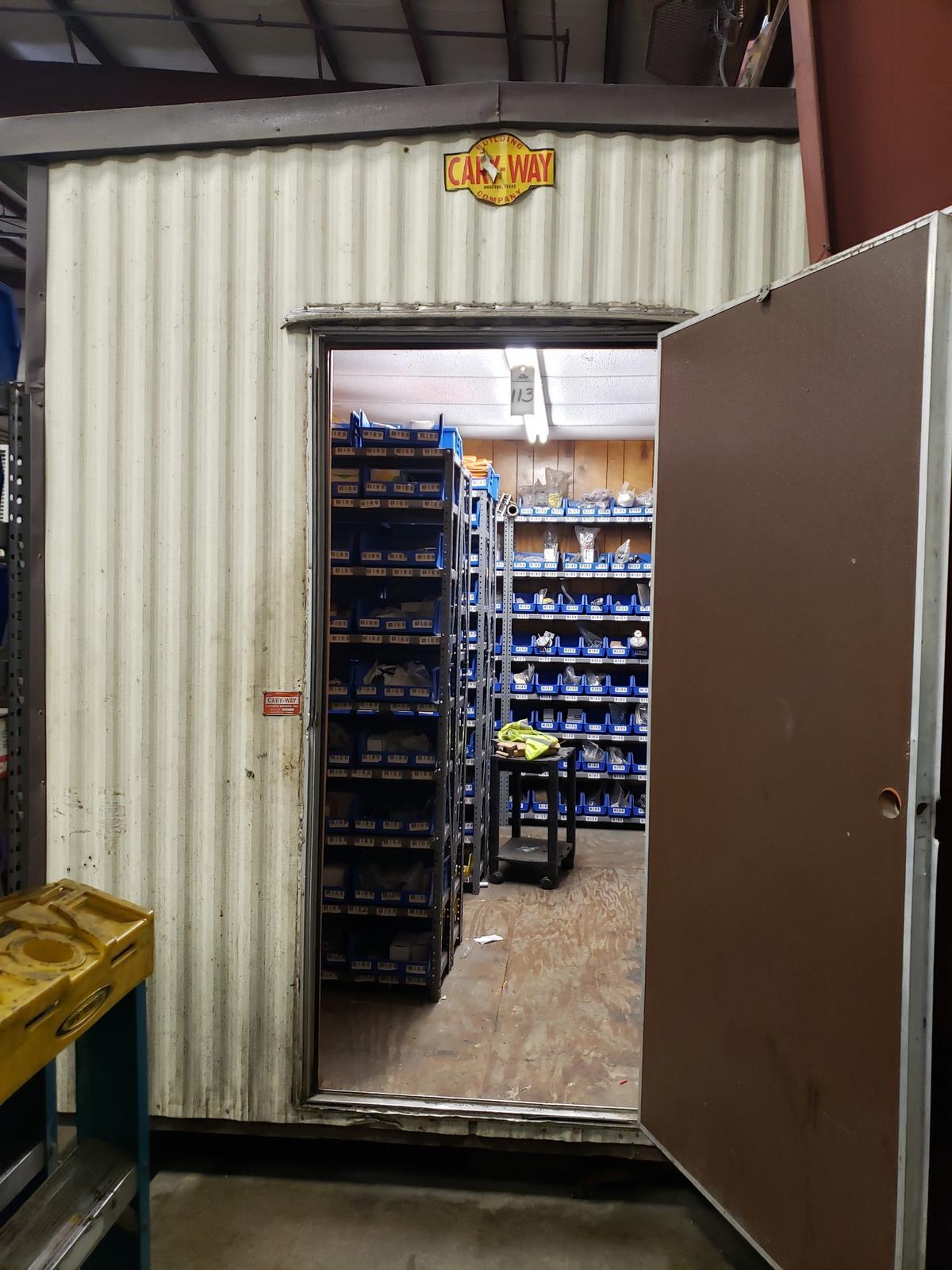 8' X 10' Storage Building, W/ Contents, Spare Parts