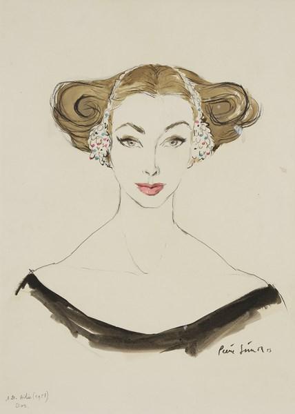 Lot 399 - Pierre SIMON (1907-1999) Ligne ailée pour Dior, 1953 Dessin au crayon noir et aquarelle. Signé et