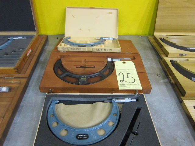 "Lot 25 - LOT OF O.D. MICROMETERS (3), 6"" to 7"" & (2) 5"" to 6"""