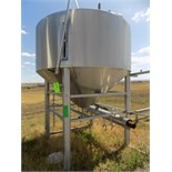 Aprox. 5,000 L / 1,320 Gal. Cone-Bottom S/S Tank with Heated Cone-Bottom, Wide Outlet, Man Hole,