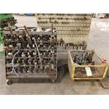 ROLLING TOOL HOLDER RACK AND BASKET WITH (20+) HOLDERS WITH TOOLING- FACE MILLS , DRILL BITS,