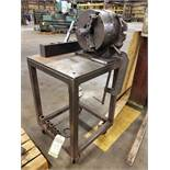 12'' 3-JAW CHUCK MOUNTED ON STEEL ROLLING CART WITH (6) LEVELING TOOL HOLDERS