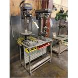 ROLLING DUAL VERTICAL DRILL PRESS TABLE WITH (2) CENTRAL MACHINERY BENCH TOP 13'' DRILL PRESSES, 7/