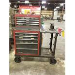 CRAFTSMAN 5-DRAWER ROLLING TOOLBOX WITH 5-DRAWER MOUNTED BENCHTOP TOOLBOX ON HD STEEL ROLLING CART