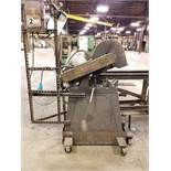 EVERETT METAL CHOP SAW ON FOOT SWITCH CART ASSEMBLY, MODEL 1416, S/N 2188-7, SADDLE BLOCK, 6''