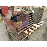 DRAWER CABINET & OPEN DRILL BIT DIVIDED BIN & ROLLING BASKET WITH BITS, REAMERS, TAPPING HEADS,