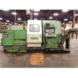 OKUMA LC-30 CNC LATHE, S/N 0319, 8 & 7-TOOL POSITION TURRETS, OUTFEED CHIP CONVEYOR